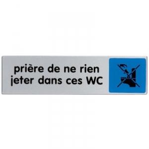 Plaque signalétique obligation / information - bleu - priere de rien jeter dans ces wc - Novap