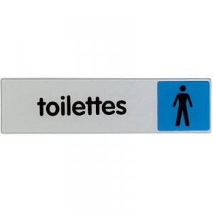 Plaque signalétique obligation / information - bleu - toilette homme - Novap