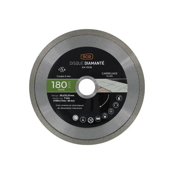 Disque diamant à tronçonner usage intensif - Ø 180 mm - Carrelage - SCID
