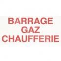 Étiquette plastique rigide rectangulaire - barrage gaz chaufferie - Coditherm