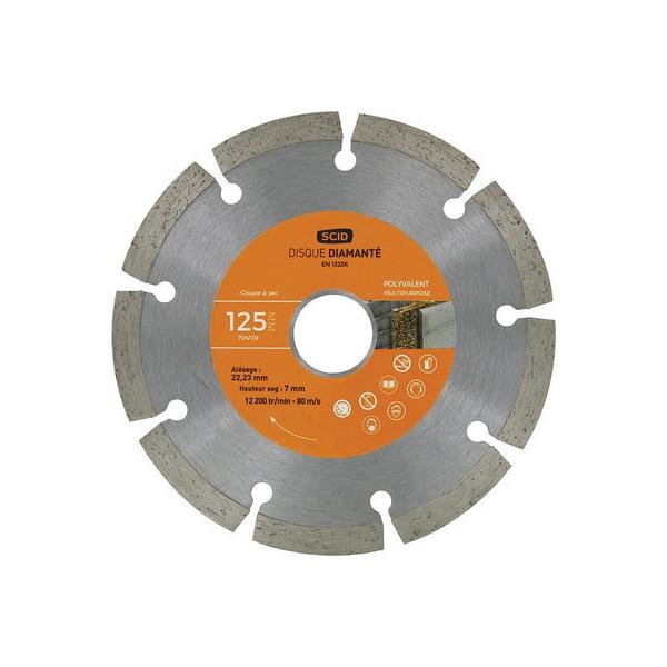 Disque diamant à tronçonner - Ø 125 mm - Tous matériaux - SCID