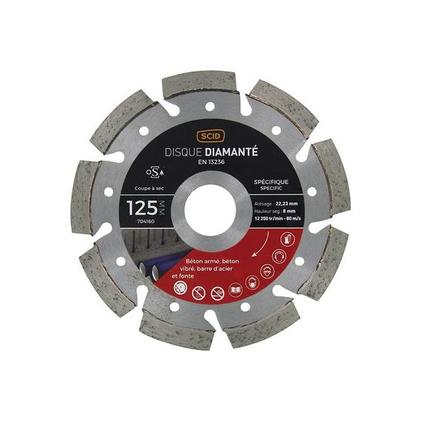 Disque diamant ventilé à tronçonner - Ø 125 mm - Béton / Métal - SCID
