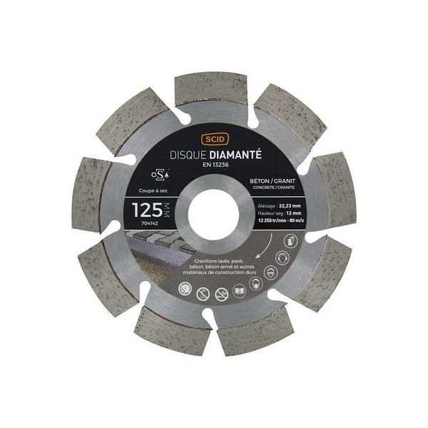 Disque diamant à tronçonner - Ø 125 mm - Matériaux durs - SCID