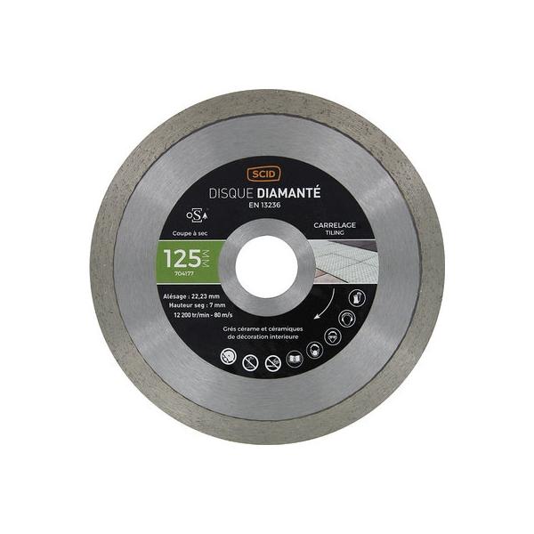 Disque diamant à tronçonner usage intensif - Ø 125 mm - Carrelage - SCID