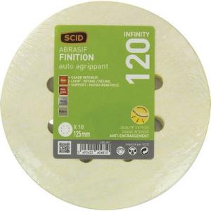 Disque papier auto-agrippant infinity - 8 trous - Ø 125 mm - Grain 120 - Lot de 10 - SCID