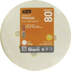 Disque papier auto-agrippant infinity 8 trous - Ø 125 mm - Grain 80 - Lot de 10 - SCID