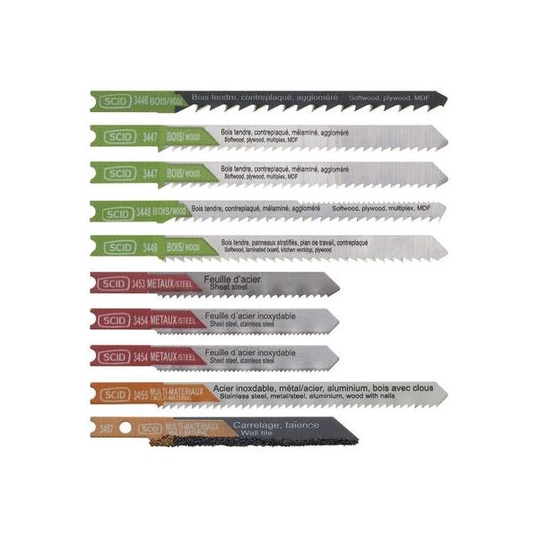 Assortiment 10 lames de scie sauteuse accroche en U - lam ssaut lot 10 pces en u - SCID