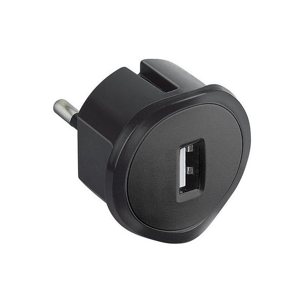 Chargeur USB encombrement réduit - noir - Legrand