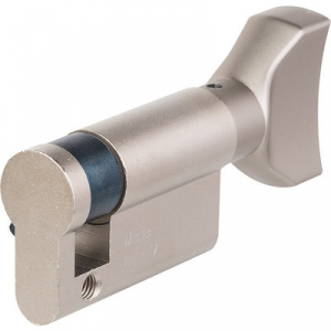 Cylindre F5 nickelé MONO-PROFIL avec bouton plat - Iséo