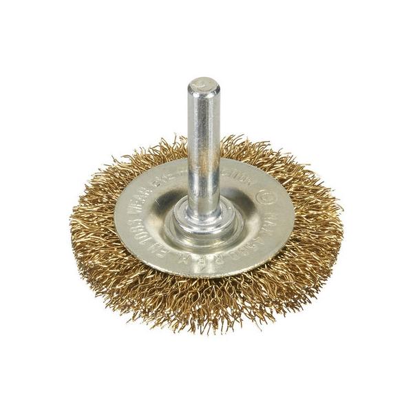 Brosse circulaire acier laitonné ondulé sur tige - Ø 60 mm - SCID