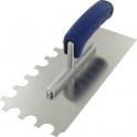 Peigne à colle lame acier inoxydable dentée sur deux côtés - platoir inox diamètre 2 cot demi rond - Outibat