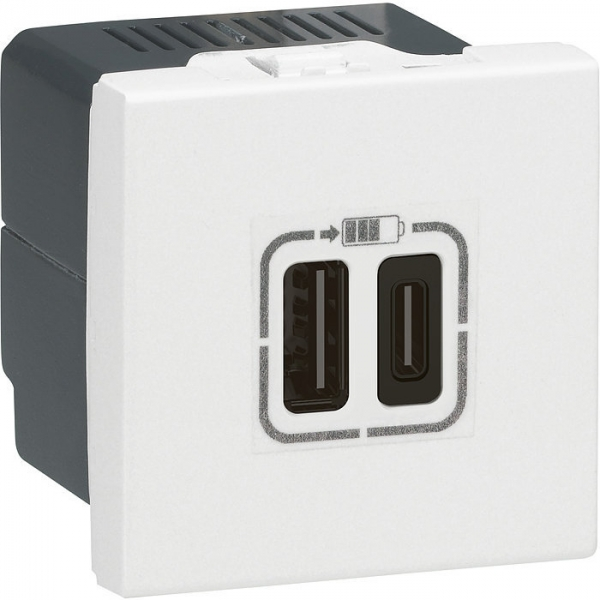 Prise double de charge USB type A + USB type C MOSAIC - Legrand