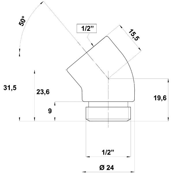 Coude passe flexible chrom/é MF 1//2 Bossini