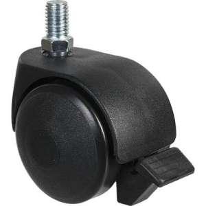 Roulette jumelée ameublement à tige filetée à frein série S49 TAF - 10x15 d50 - Guitel Point M