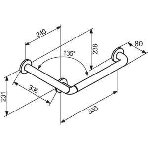 Barre d'appui coudée blanche 135° - Normbau