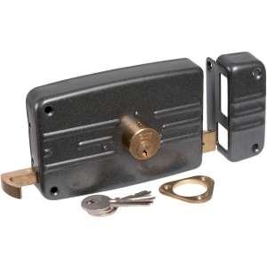 Serrure en applique noire à Tirage - Clé I - Axe à 70 mm - Série 5G - Iséo
