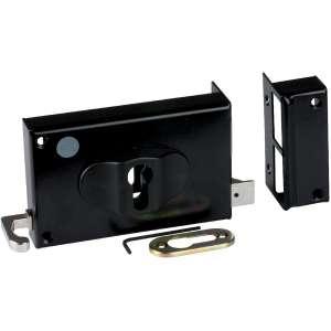Serrure en applique noire à Tirage - Clé I - Axe de 52 à 70 mm - Série ND10 - DOM