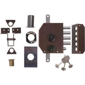 Serrure multipoint en applique marron à tirage - Axe à 61 mm - City Perfect HB3 A2P* - Iséo
