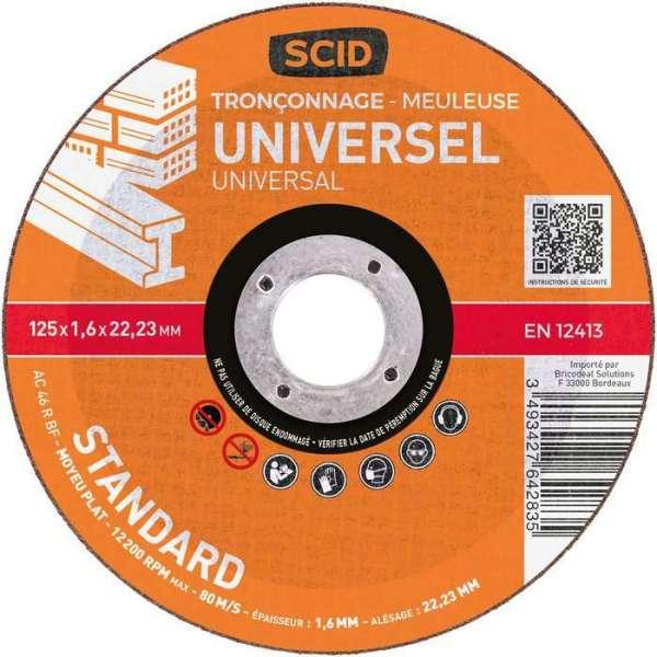 Disque à tronçonner standard - Ø 125 mm - Universel - SCID