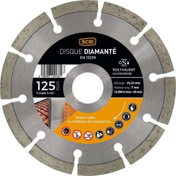 Disque diamant segmenté à tronçonner Eco - Ø 125 mm - Tous matériaux - SCID
