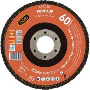 Disque à lamelles Zirconium - Ø 115 mm - Grain 60 - SCID