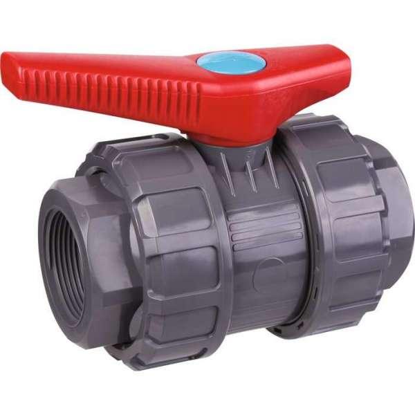 Vanne à boisseau sphérique PVC pression noire - FF 1'1/2 - Manette rouge - Girpi