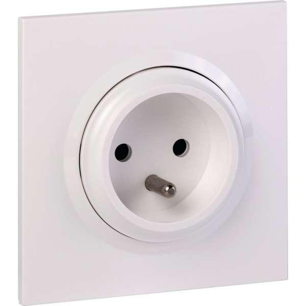 Prise de courant 2P+T easyréno blanc 16 A faible profondeur - Dooxie one - Legrand