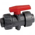 Vanne à boisseau sphérique PVC pression noire Haute performance - Tube Ø 25 mm - Manette rouge - Girpi