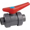 Vanne à boisseau sphérique PVC pression noire - Tube Ø 20 mm - Manette rouge - Girpi