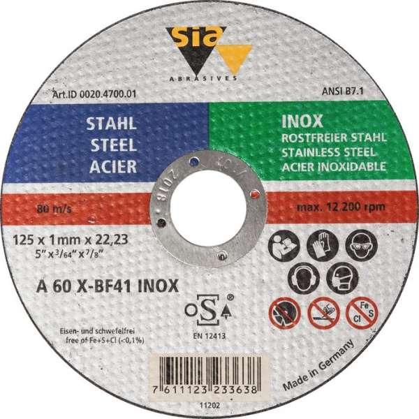 Disque à tronçonner - Ø 125 x 3,2 mm - Acier / inox - SIA Abrasives