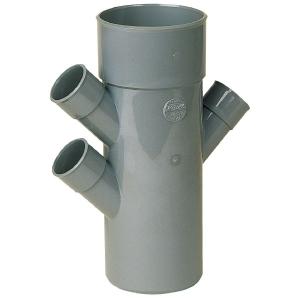 Raccord PVC gris triple équerre 45° - Ø 40 - 40 - 100 - 40 mm - Quadruple emboîture - Nicoll