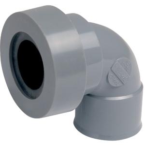 Adaptateur PVC gris coudé 87°30 - Femelle Ø 32 mm - Double emboîture - Nicoll