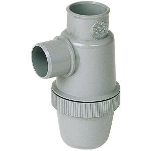 Siphon de parcours PVC gris vertical - Mâle / femelle - Ø 32 mm - Nicoll