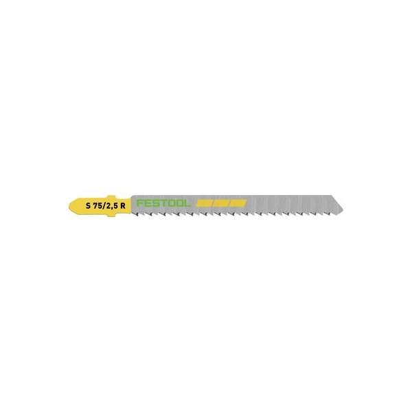 Lame de scie sauteuse acier HCS - Longueur 75 mm - S 75/2,5 R - Lot de 5 - Festool
