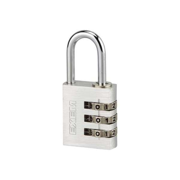 Cadenas à combinaison aluminium - Exem - 30 mm - 3 chiffres - Exem
