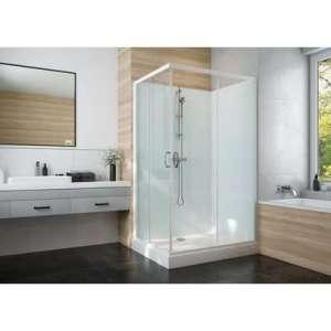 Cabine de douche Izi Glass2 - Carrée - Portes coulissantes - Verre transparent - 80 x 80 cm - Leda