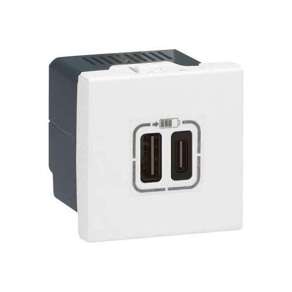 Chargeur USB Mosaic - 2 ports USB - Type-C - 3 A - 15 W - Blanc - Legrand