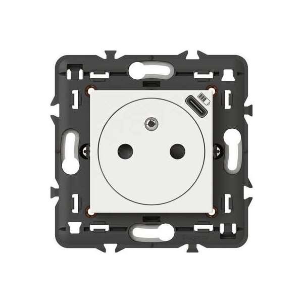 Prise de courant 2P+T surface Mosaic - Chargeur USB type-C intégré - 2 modules - Blanc - Legrand