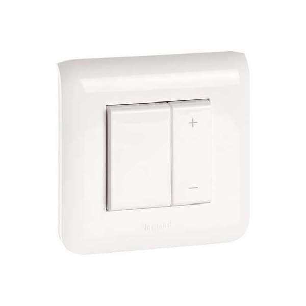 Interrupteur variateur toutes lampes - 2 fils - 2 modules - Blanc - Mosaic - Legrand