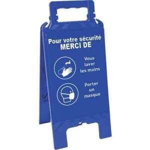 Chevalet Bleu - Laver les mais et Porter un masque - 608 x 272 mm - Novap