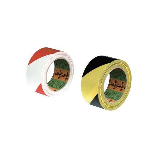 Ruban de marquage PVC adhésif - 33 m x 75 mm - Rouge et Blanc - Sélection Cazabox