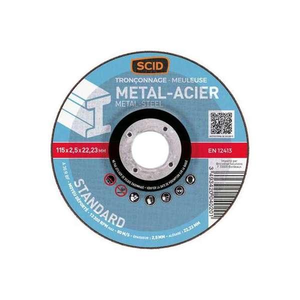 Disque à tronçonner standard - Métaux - Diamètre 125 mm - Alésage 22,2 mm - SCID