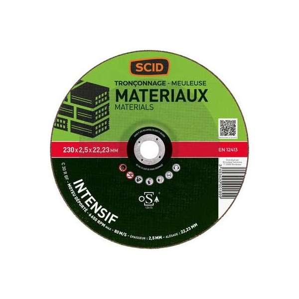 Disque à tronçonner usage fréquent - Matériaux - Diamètre 230 mm - Alésage 22,2 mm - SCID