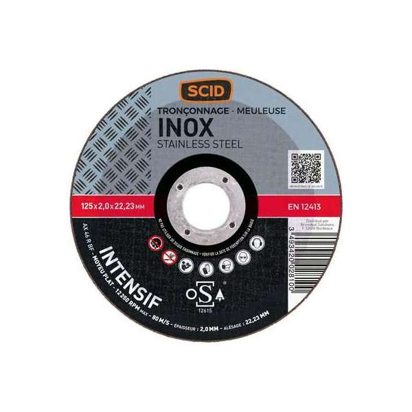 Disque à tronçonner l'inox - Moyeu plat - Diamètre 230 mm - Alésage 22,2 mm - SCID