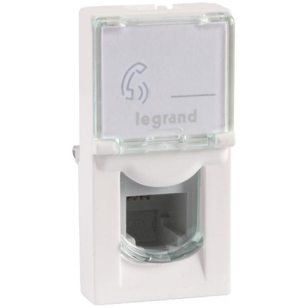 Prise multimédia blanche - RJ 45 - 1 module - Pour câble Cat 5 - Mosaic - Legrand