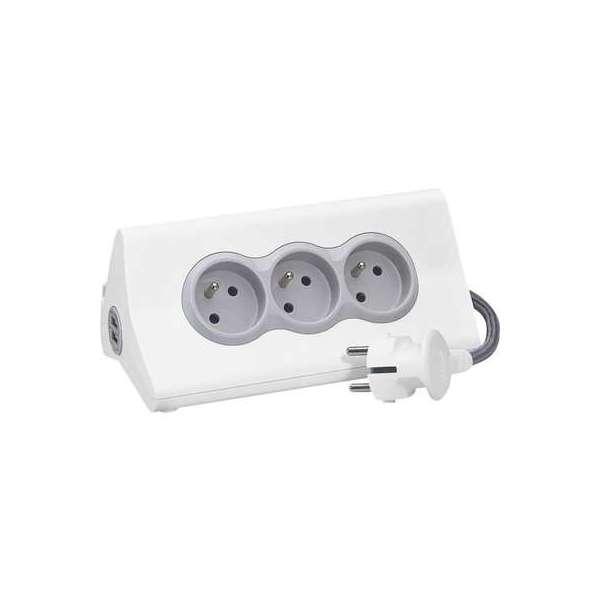 Rallonge multiprise 3 x 2P+T - 2 modules de charge USB type-A - 16 A - Support tablette intégré - Blanc et gris - Legrand