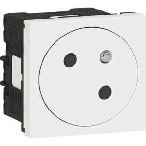 Prise de courant 2P+T surface Mosaic Link - Avec accessoire de raccordement - 2 modules - Blanc - Legrand