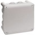 Boîte grise carrée - 130 mm - 10 embouts - Couvercle vis 1/4 de tour - Plexo - Legrand