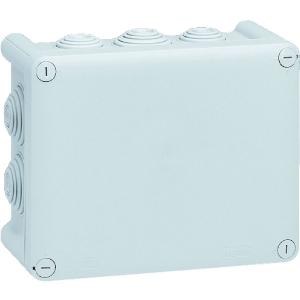 Boîte grise rectangulaire - 155 x 100 mm - 10 embouts - Couvercle vis 1/4 de tour - Plexo - Legrand