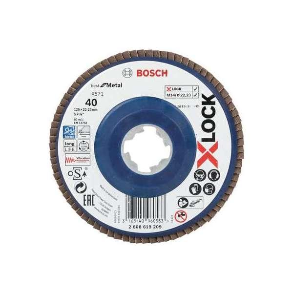 Plateau à lamelles à surface plate X-Lock - Ø 125 mm - Grain 40 - Bosch